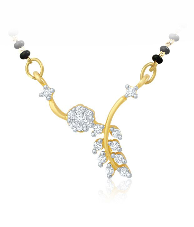 Mahi Gold Plated Mangalsutra Pendant with CZ for Women PS 1191487G