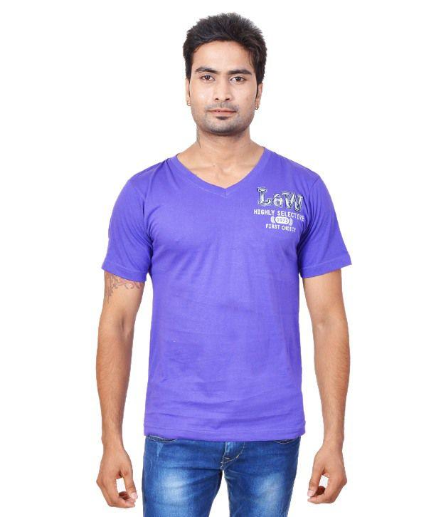 Fabulook Purple Cotton  T-Shirt