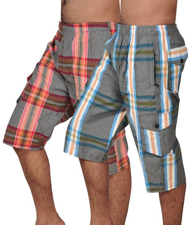 Coaster Pack of 2 Multi Color Checkered Capri for Men's