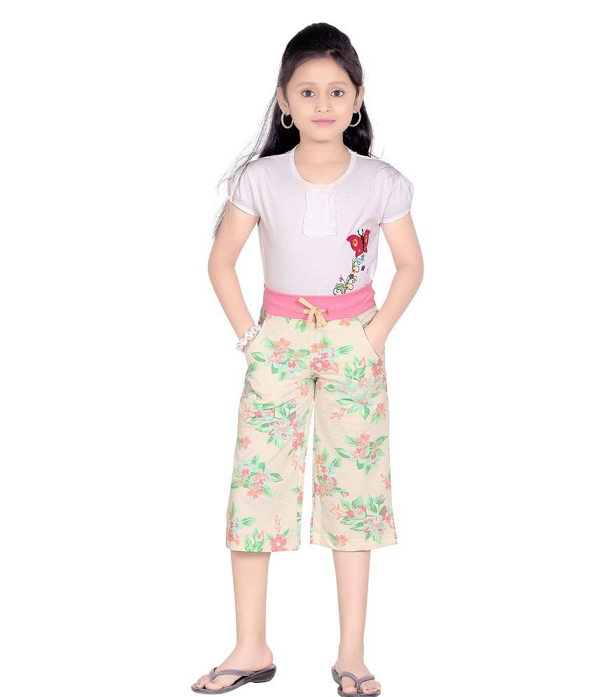 SINIMINI GIRLS AGILE WHITELEAFPRINT PRINTED CAPRI