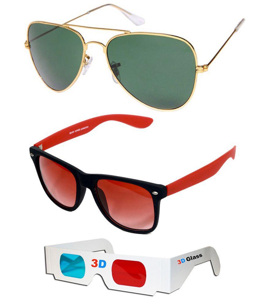 Talesara Combo Of Gold Aviator Sunglasses + Wayfarer Sunglasses + 3d Glasses - Sun4073