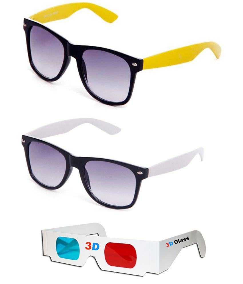 Talesara Combo Of Wayfarer Sunglasses + Wayfarer Sunglasses + 3d Glasses - Sun4123
