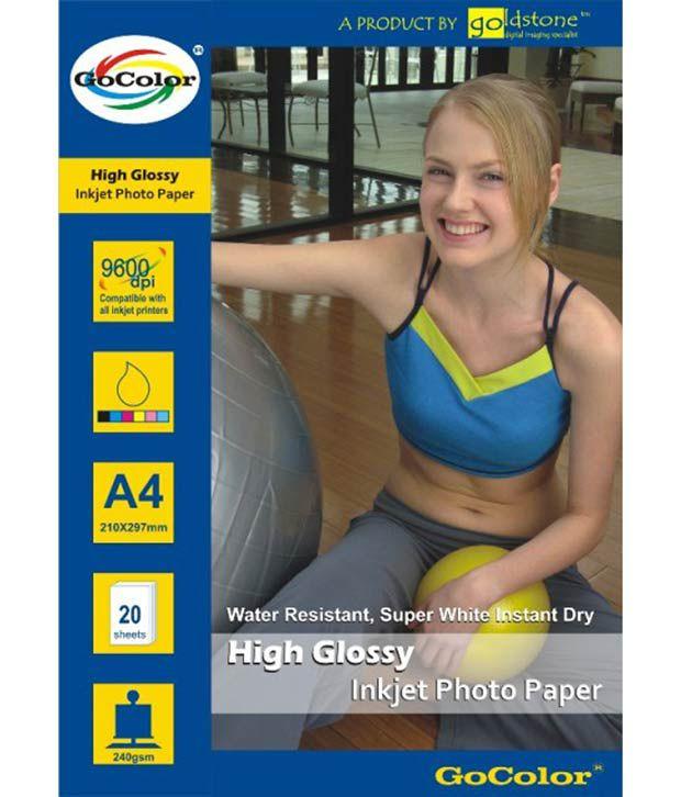 GoColor High Glossy Inkjet Photo Paper 240 GSM 100 Sheets A4 Size