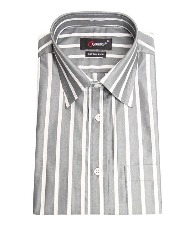 Oxemberg Formal Grey White Striped Shirt Buy Oxemberg Formal