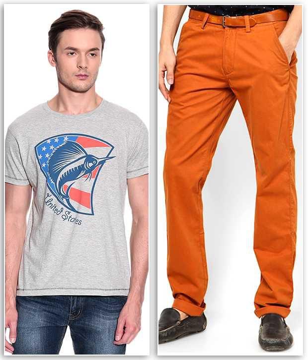 Phoenix Combo Of 1 Gray T Shirt And 1 Chinos