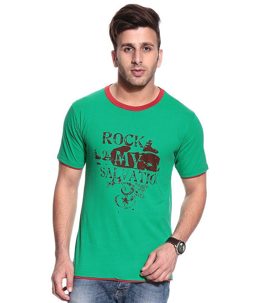Posh 7 Green Half Cotton Blend Round  T-Shirt