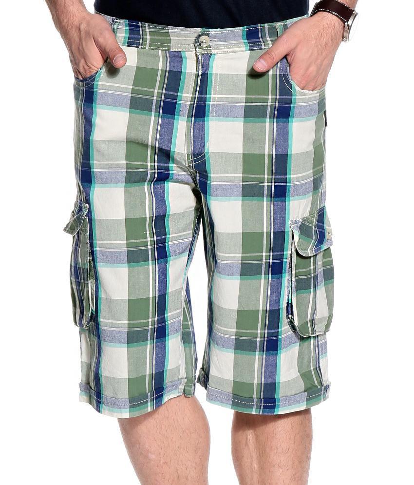TSG Escape Green Cotton Checks Shorts