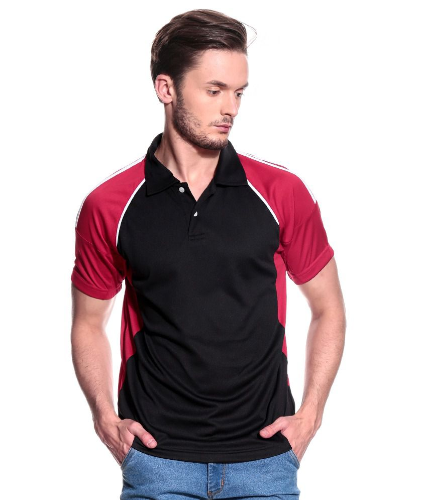 T10 Sports Black Polyester Lycra Polo T-Shirt