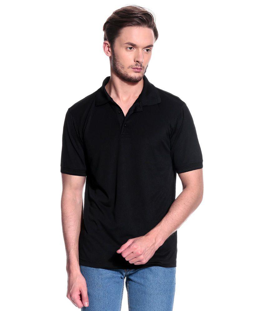 T10 Sports Black Half  Polo T-Shirt