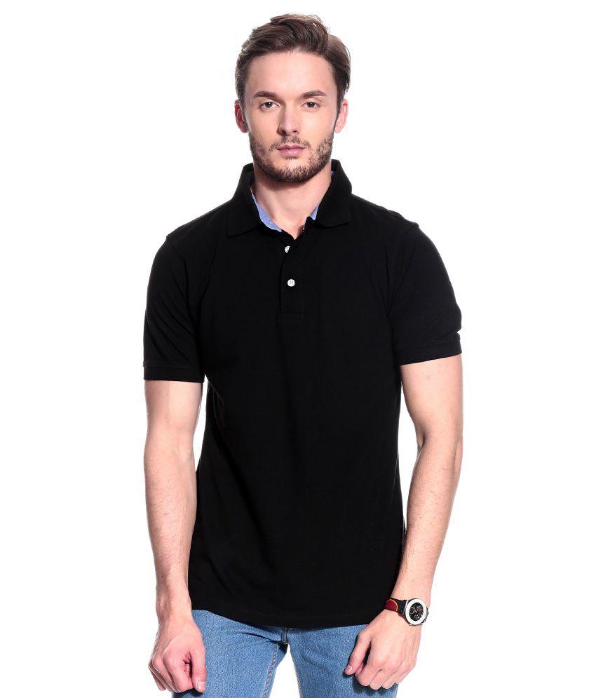 T10 Sports Black Cotton Polo T-Shirt