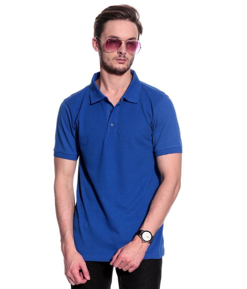 T10 Sports Blue Cotton Blend Polo T-Shirt