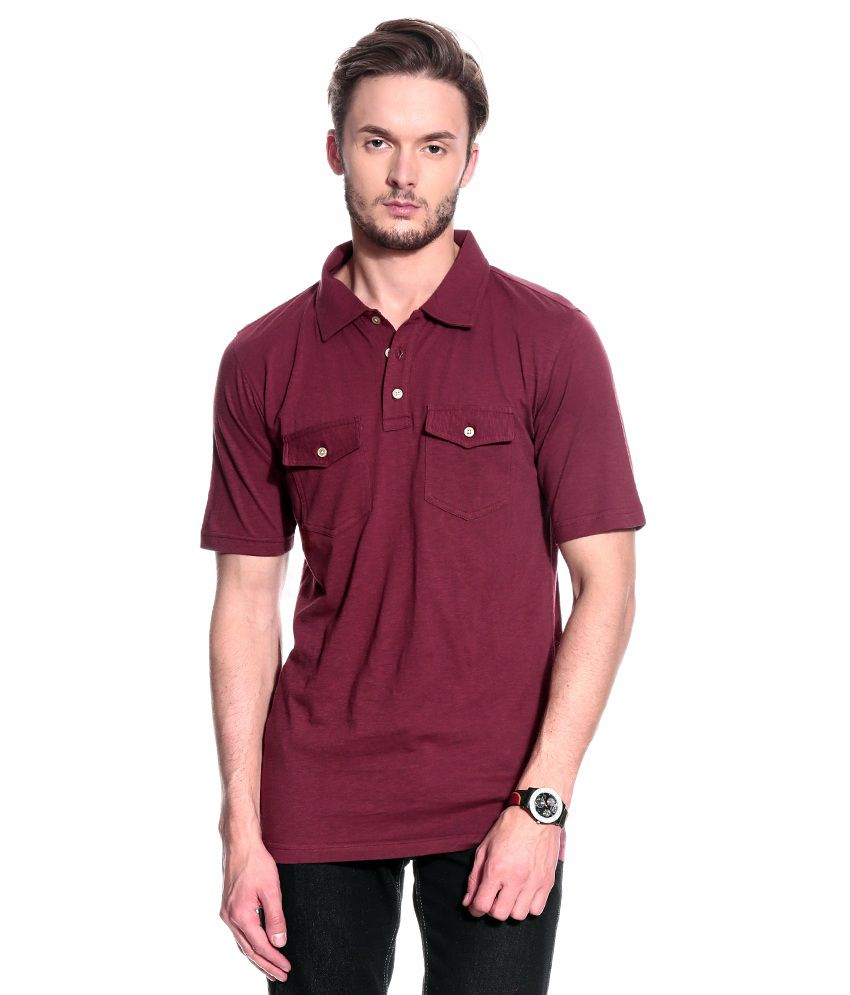 T10 Sports Maroon Cotton Polo T-Shirt