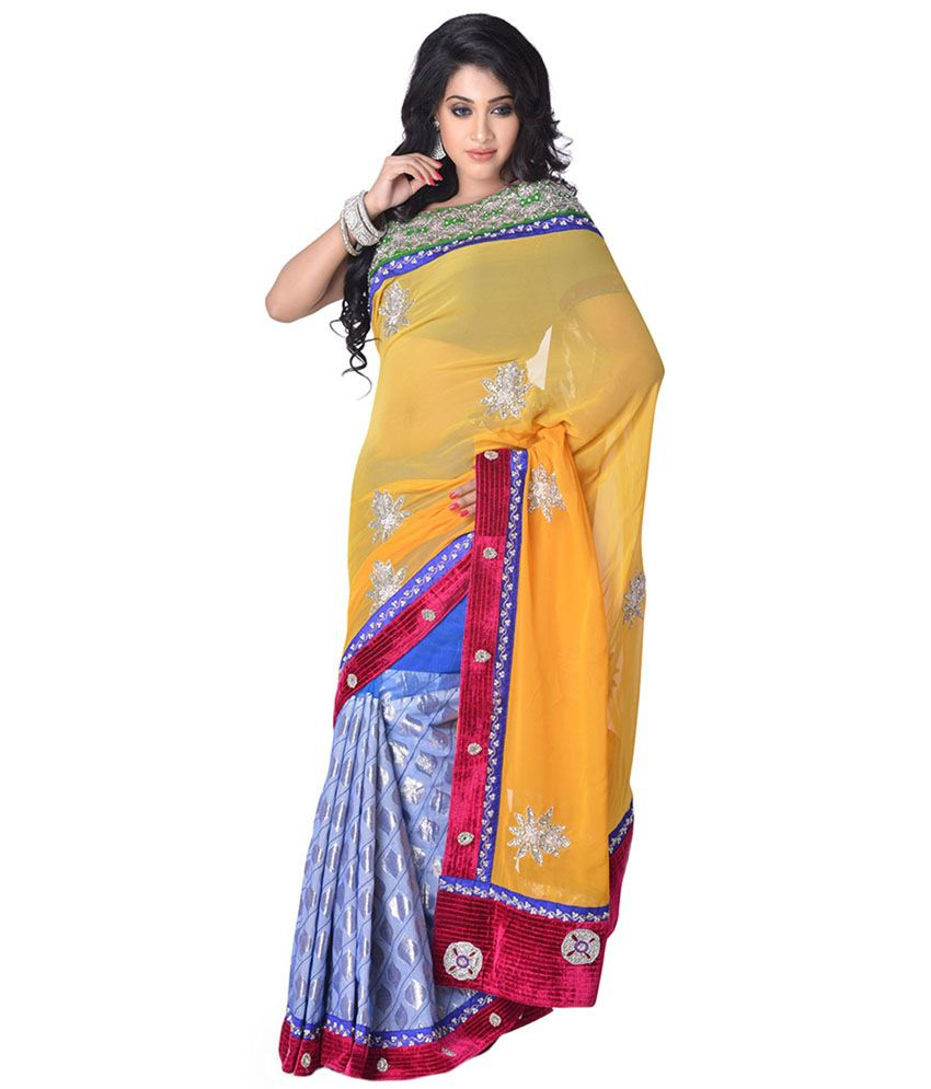79ad276bcc5f21 Cbazaar Yellow and Beige Konrad Satin Saree - Buy Cbazaar Yellow and Beige  Konrad Satin Saree Online at Low Price - Snapdeal.com
