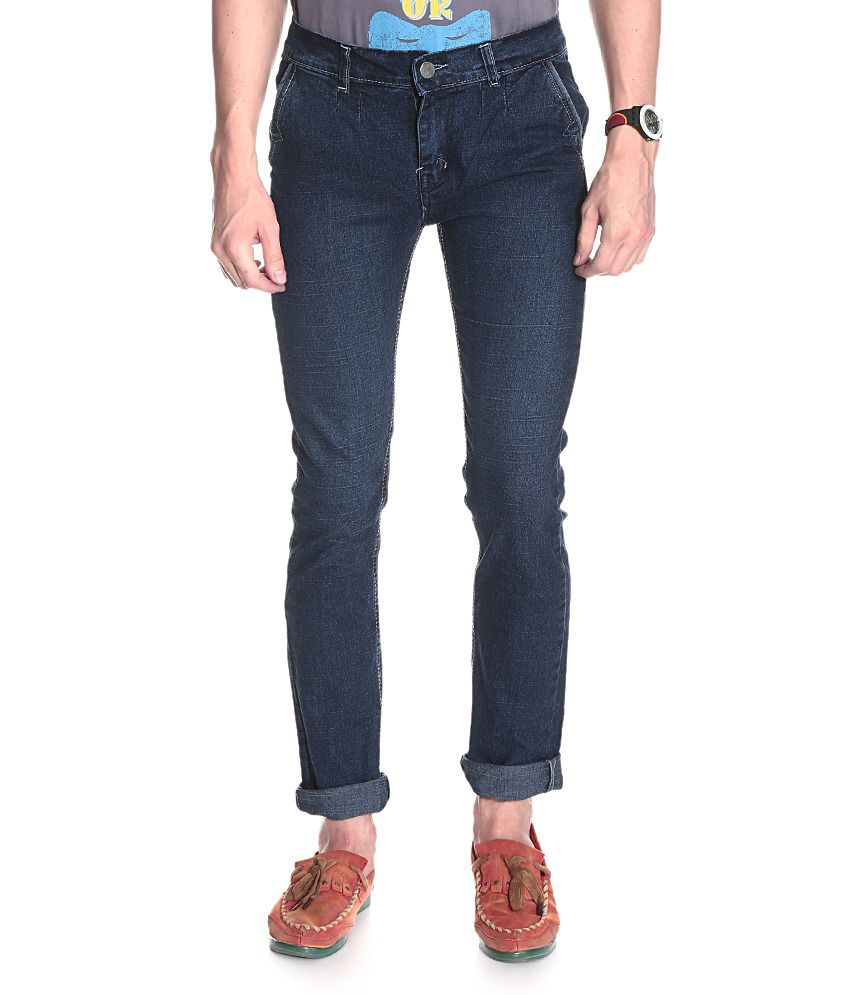 D.Coral Blue Cotton Jeans