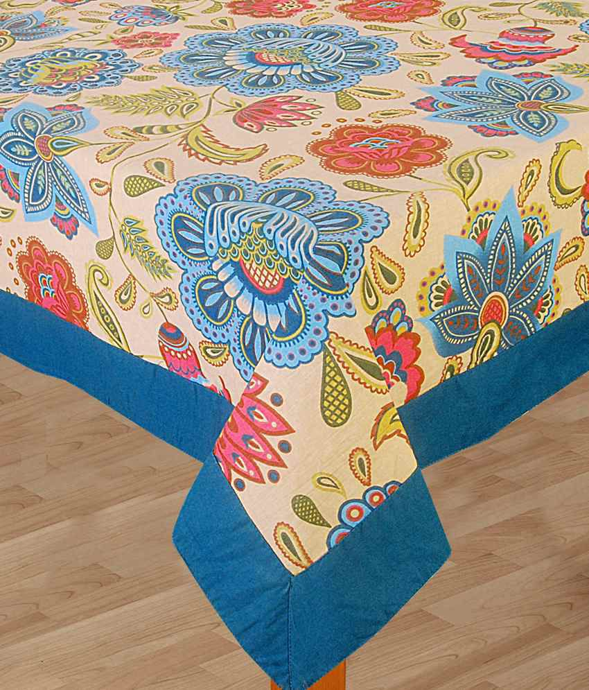 Bianca blue natural jewel garden table cloth 6 seater for 10 seater table cloth