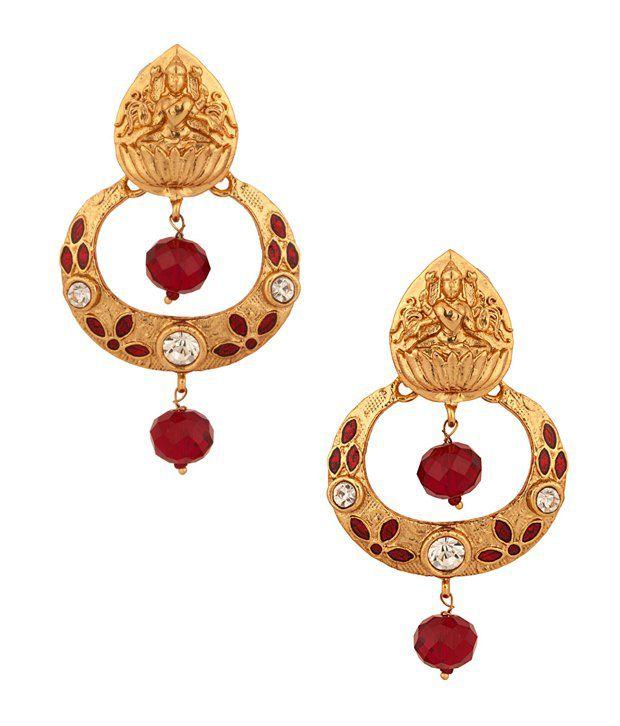 Voylla Golden Temple Design Goddess Lakshmi Earrings With Cz, Meenakari Work