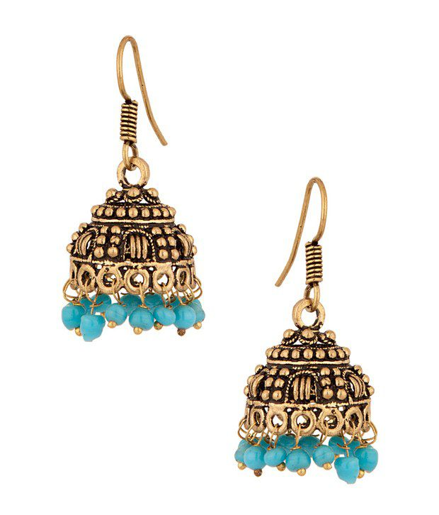 Voylla Jhumki Earrings with antique gold look, blue drops