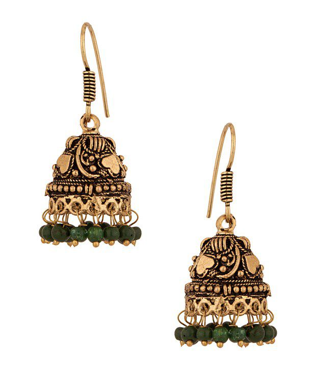 Voylla Jhumkis with Antique Golden finish and green beads