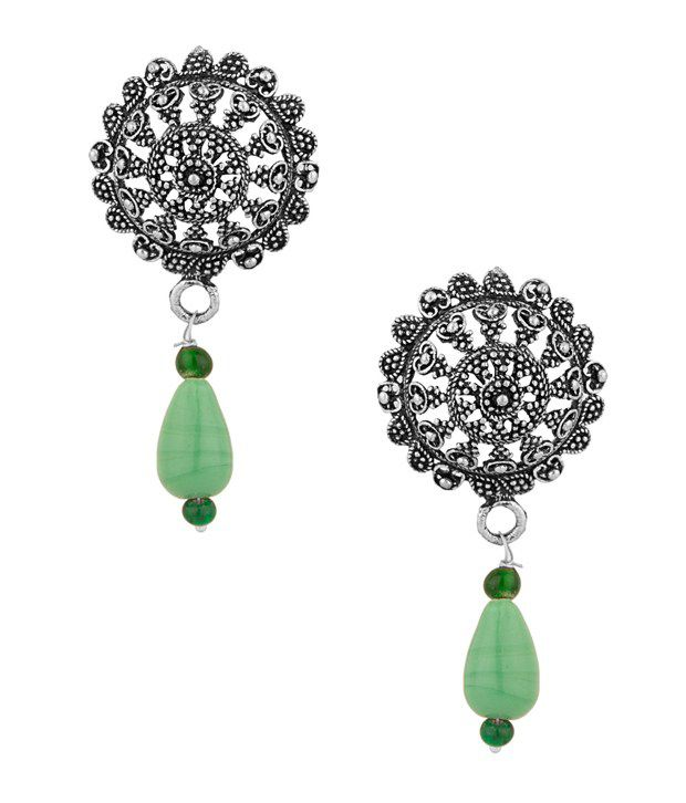 Voylla Stud Earrings with Green drops and oxidised look