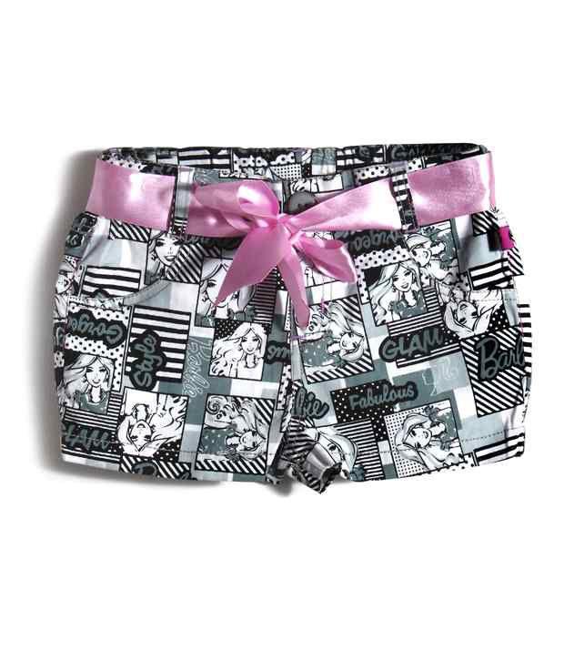 Barbie Black & White Color Printed Shorts For Kids