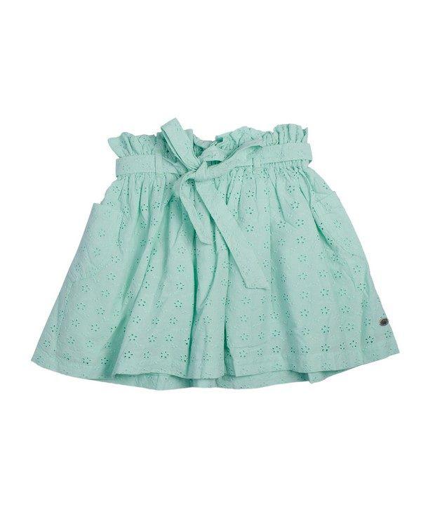 FS Mini Klub Green Color Broderie Skirt For Kids