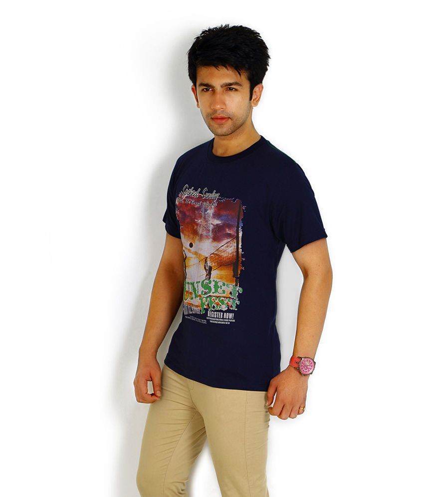 Fitz Navy Sleeveless Polyester Round T-Shirt