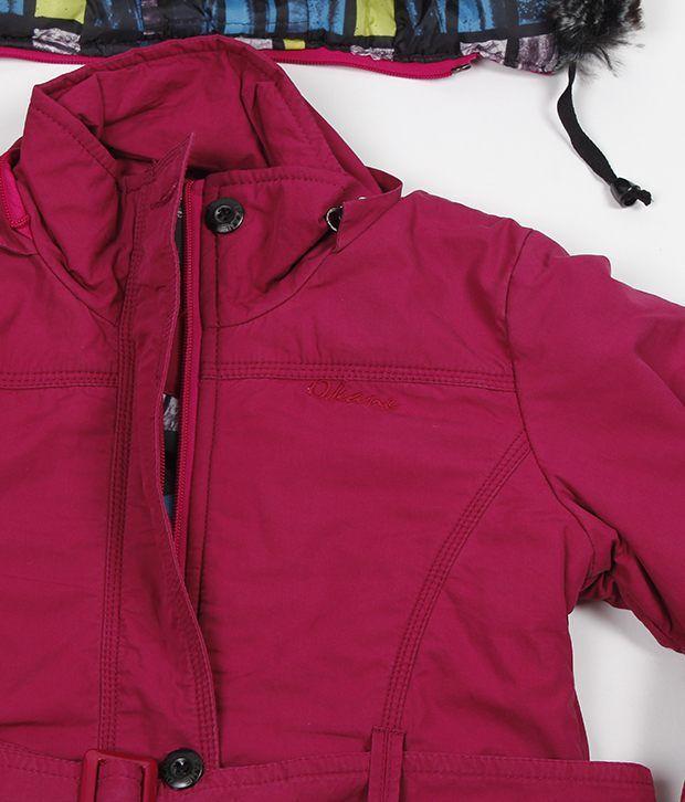 Okane Dark Pink Hooded Jacket For Kids