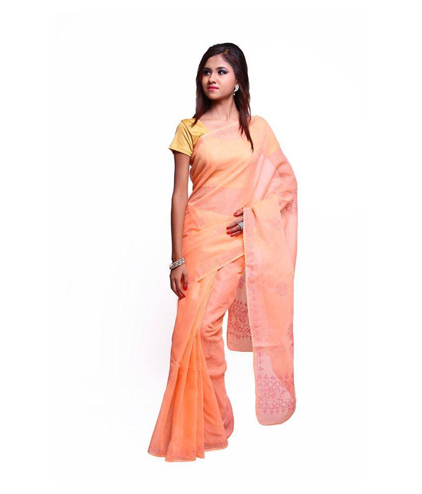 Vida Orange Lucknavi Chikankari Cotton Saree