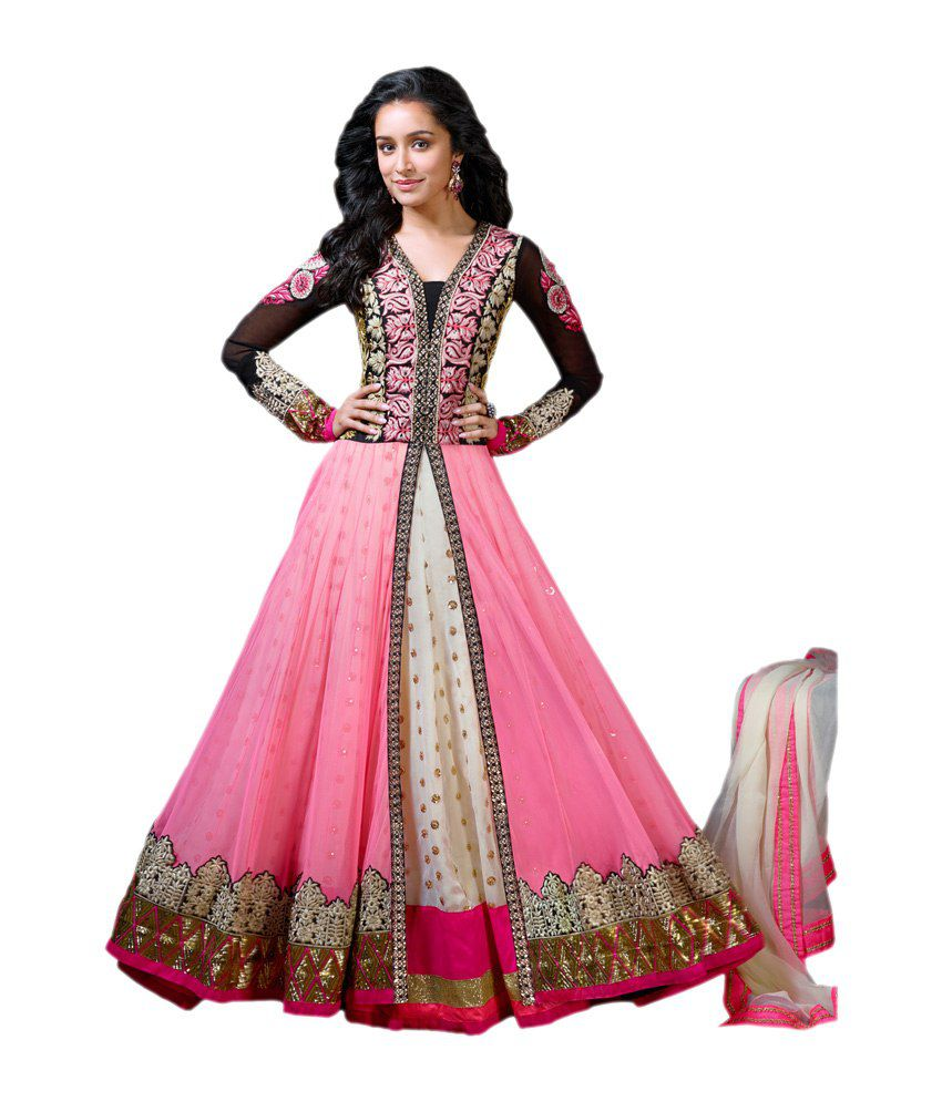 2c93b6ca71a Khwaab Pink Net Dress Material - Buy Khwaab Pink Net Dress Material Online  at Best Prices in India on Snapdeal