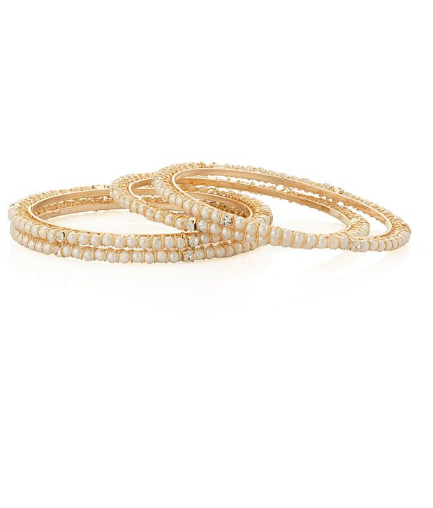 Voylla Set of Four Bangles Featuring Sleek Pearls