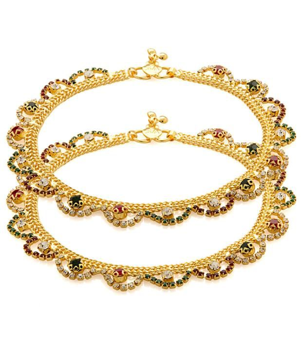 Voylla Link Anklets with Gold Tone Featuring Starry Details, Colourful Lace Finish