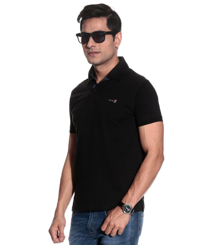 Black t shirt low price -  Pepe Jeans Black Half Polo T Shirt