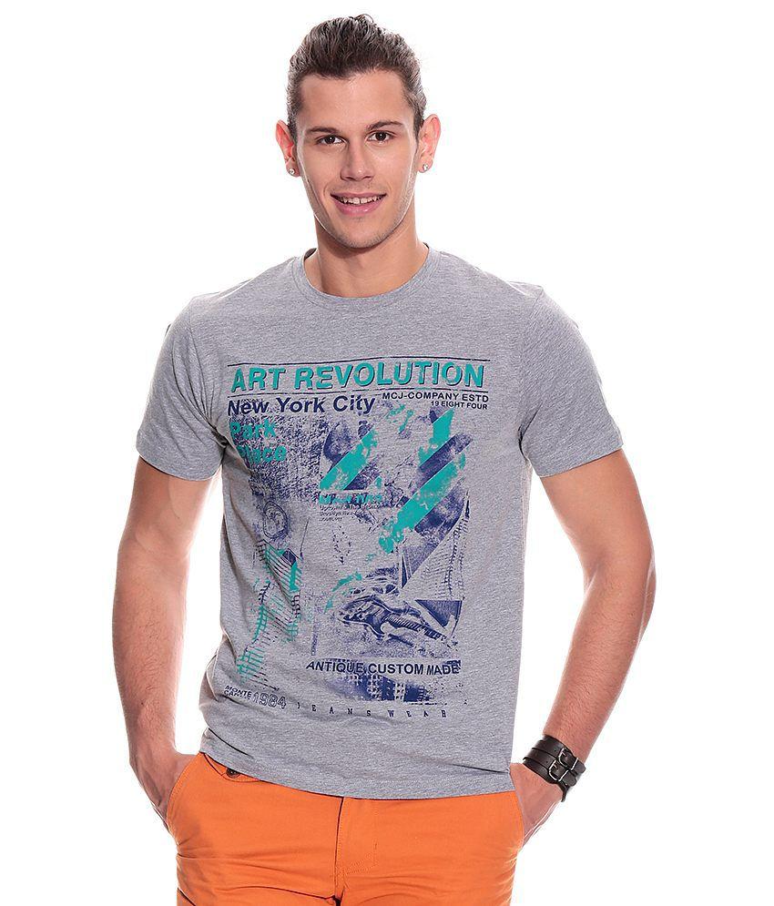 Monte Carlo Gray Half Cotton Blend Round  T-Shirt
