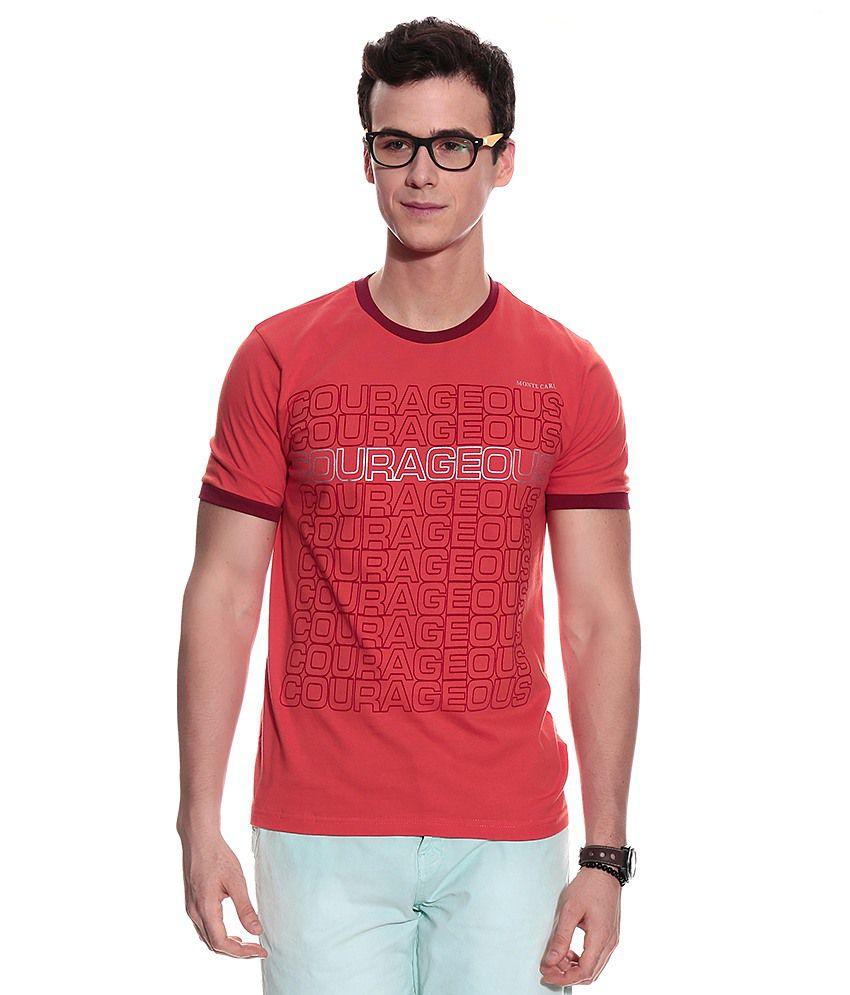 Monte Carlo Orange Half Cotton Blend Round  T-Shirt