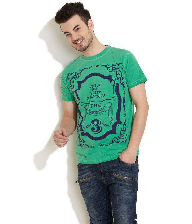 RIOT Green Half Cotton Round T-Shirt