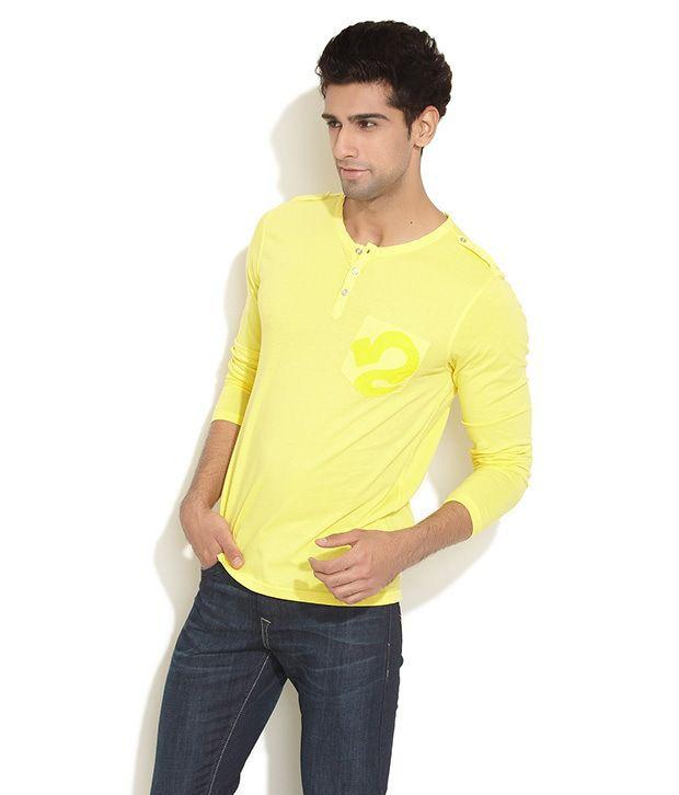 Republic Of Spiel Yellow Half Cotton Round T-Shirt