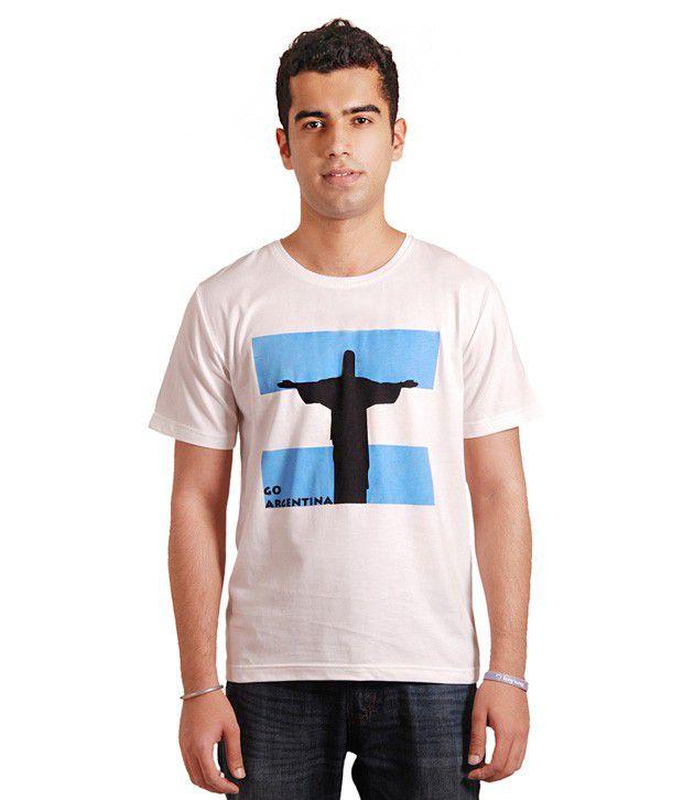 Rigo White Half Cotton Round T-Shirt