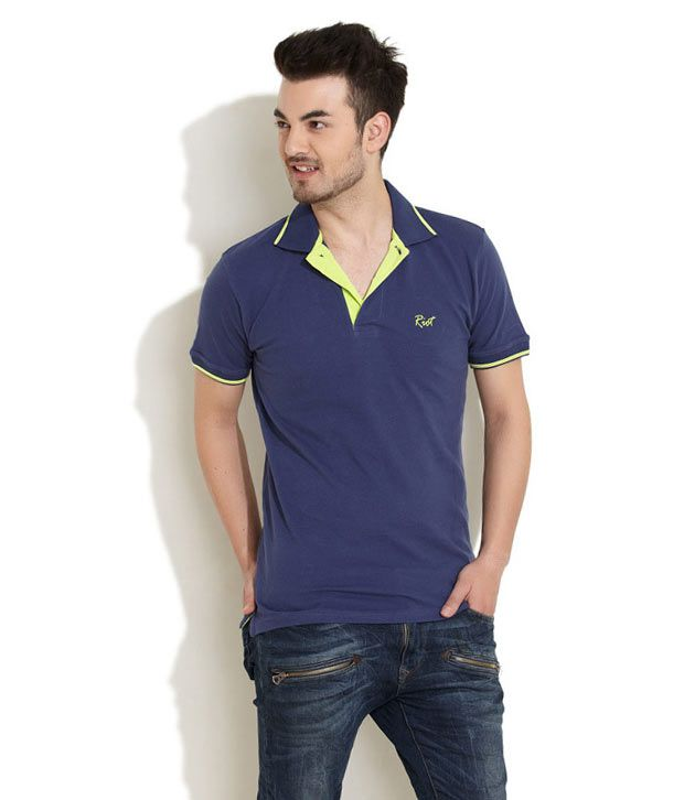 Riot Blue Half Cotton Round T-Shirt