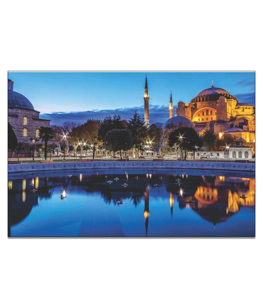 Finearts Mosques - Blue Canvas Wall Painting