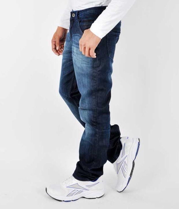 Gesture Men Jeans With Lycra Blue Slim Fit