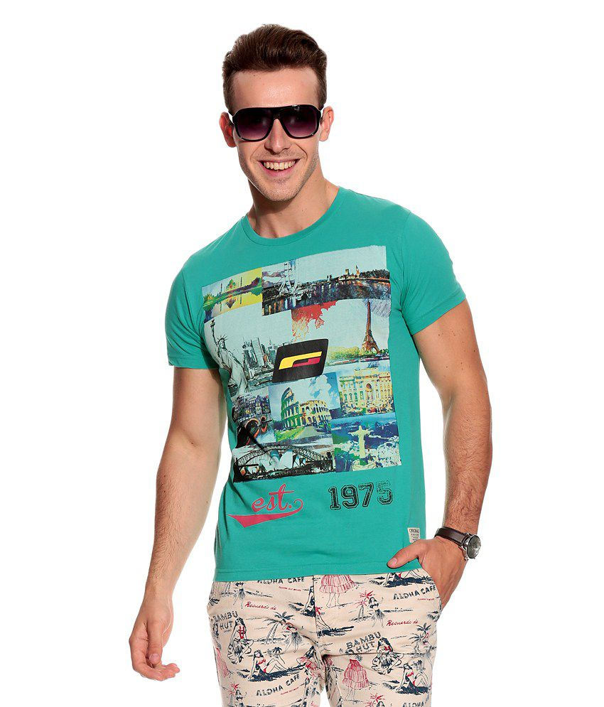 Jack & Jones Green Cotton T-Shirt