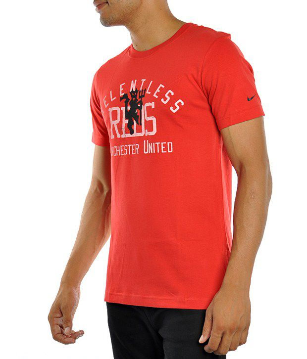 Nike Men T Shirts Short Sleeve Red Crew Neck