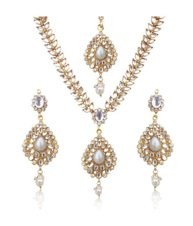 Sparkling tear drop with kundan leaves pearl indian ethnic necklace set