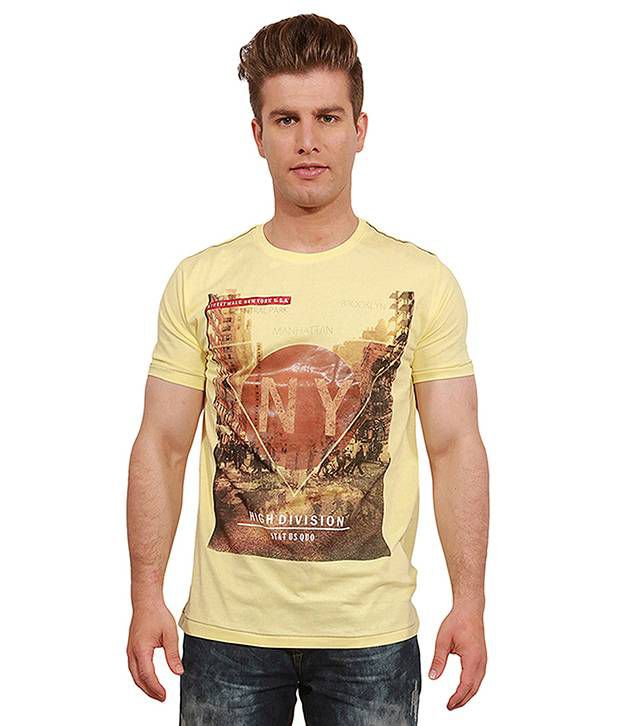 Status Quo Yellow Cotton Blend  T-Shirt