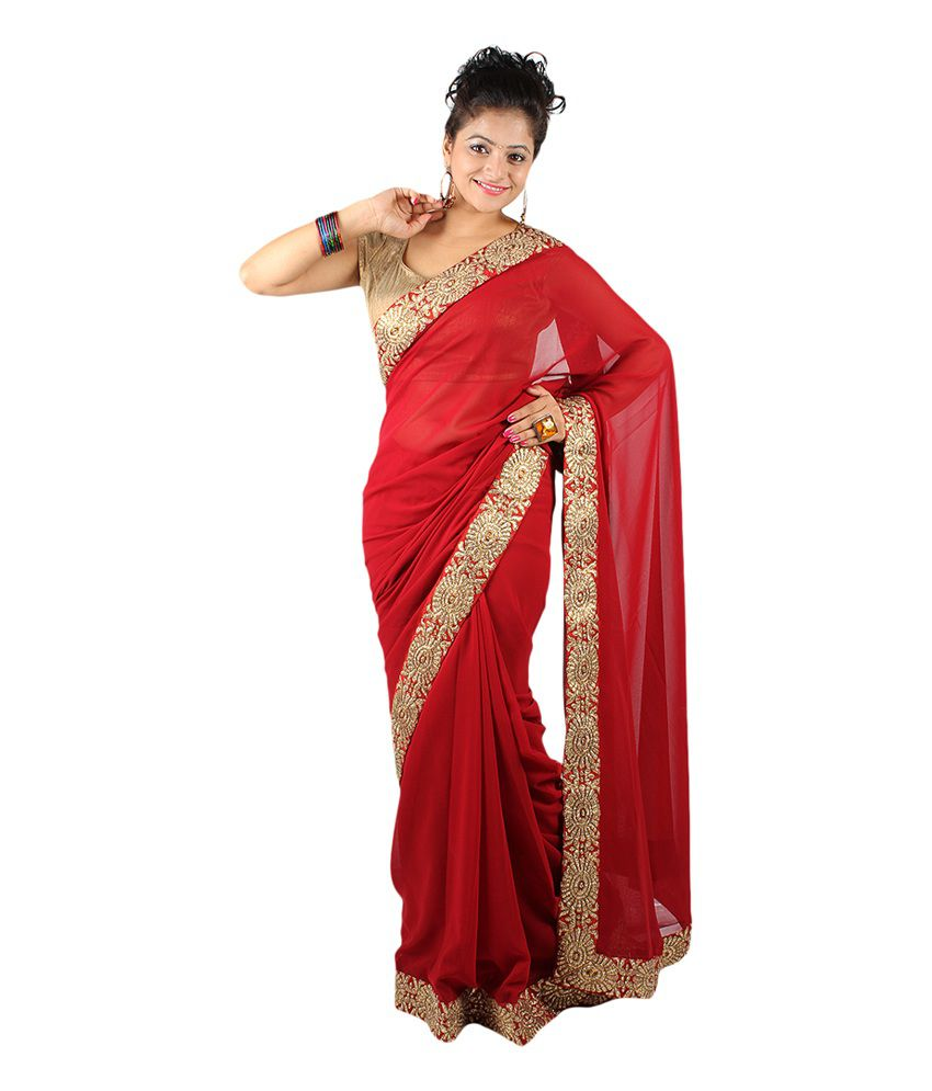 Aabeer Red Georgette Red Gold Border Saree - Buy Aabeer ...