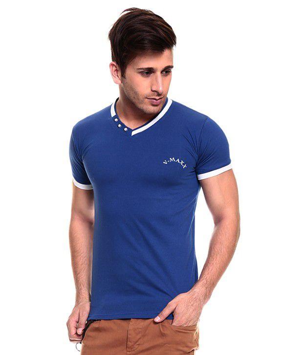 Akaas Blue Cotton T-shirt