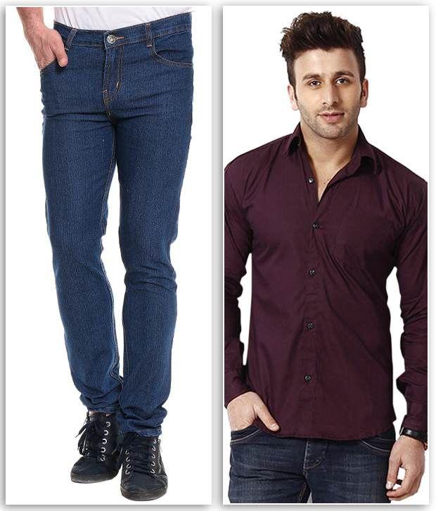 Akaas Blue Slim Jeans With Shirt