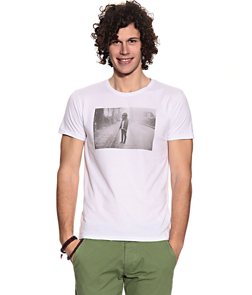 Jack & Jones White Cotton  T-Shirt