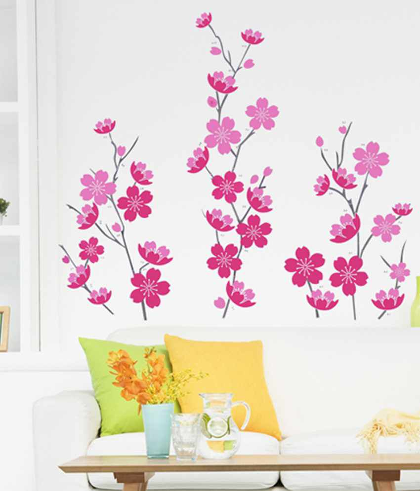 zagsa pink flowers wall sticker buy zagsa pink flowers pink flower tree wall sticker by mirrorin