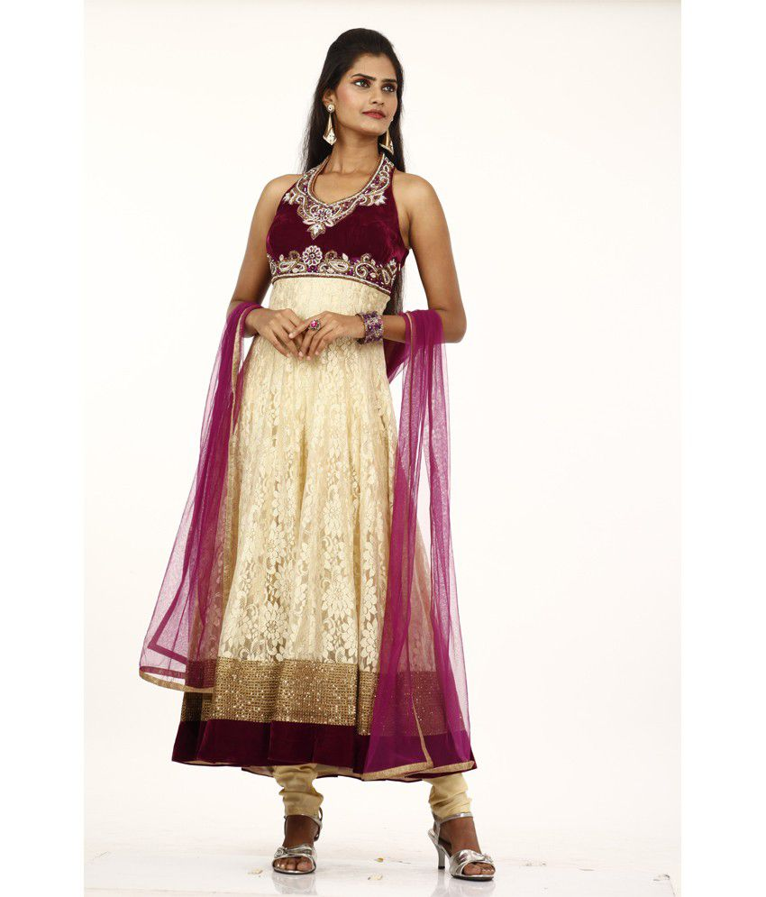 Bawree Churidar Suit Party Wear Santile & Velvet Shinning Gold With Wine 525220